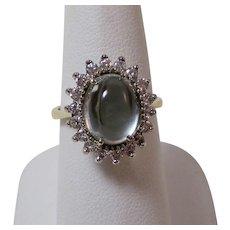 Estate Natural Aquamarine & Diamond Engagement Birthstone Halo Ring 14K