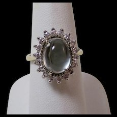 Estate Natural Aquamarine & Diamond Engagement Birthstone Halo Ring 14K