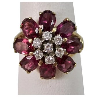 Vintage Estate 1950's Birthstone Engagement Amethyst & Diamond Flower Ring 14K