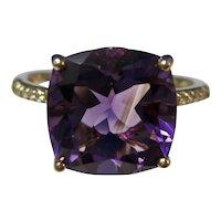 Vintage Estate Amethyst & Diamond Birthstone Ring 14K