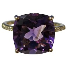 Vintage Estate Amethyst & Diamond Engagement Birthstone Anniversary Ring 14K