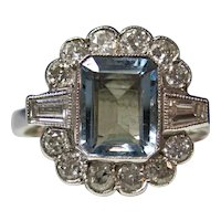 Vintage Estate Art Deco Natural Aquamarine Diamond  Ring 18K