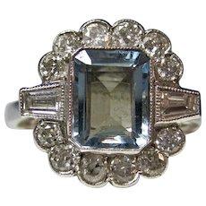 Vintage Estate Art Deco Natural Aquamarine Diamond Engagement Wedding Birthstone Ring 18K