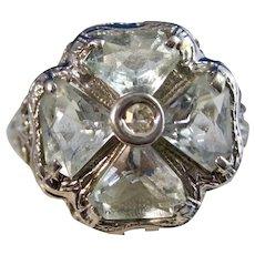Vintage Estate Art Deco Natural Aquamarine Four Leaf Clover Ring 14K