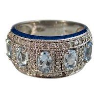 Vintage Estate 1960's Aquamarine Diamond Ring 14K
