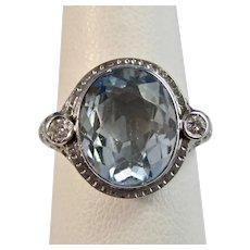 Vintage Estate Art Deco Natural Aquamarine Diamond Ring 18K