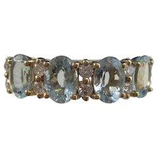 Estate 4 Stone Aquamarine & Diamond Ring 14K