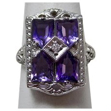 Vintage Estate Amethyst & Diamond Ring 14K