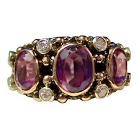 Vintage Estate Natural Amethyst & Diamond 3 Stone Mid-Century Ring 14K
