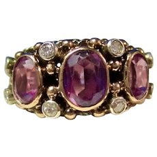 Vintage Estate Natural Amethyst & Diamond 3 Stone Mid-Century Ring 14K