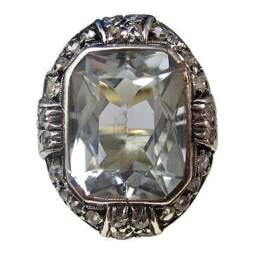 Vintage Estate Art Deco Aquamarine Diamond Birthstone Ring 14K