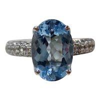 Vintage Estate H Stern Aquamarine Diamond Ring 18K