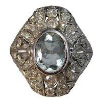 Vintage Estate Art Deco 1920's Aquamarine Diamond Ring Platinum