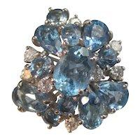 Vintage Estate 1960's Aquamarine Diamond Dinner Ring 14K