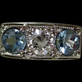 Antique Edwardian 3 Stone Aquamarine Diamond Wedding Ring 14K