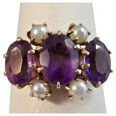 Antique Victorian Amethyst & Pearl Ring 14K