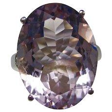 Vintage Estate Natural Amethyst & Diamond Dinner Ring 18K