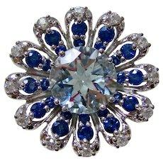 Vintage Estate 3.36 Carats Aquamarine, Sapphire, Spinel Floral Ring