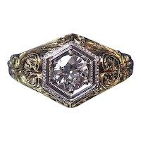 Antique Victorian Diamond Estate Engagement Ring 18K Platinum