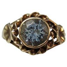 Antique Edwardian Natural Aquamarine Engagement Birthstone Ring 14K