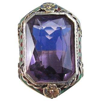 Art Deco 1920's Estate 14.60 Carat Amethyst Birthstone Engagement Ring 14K