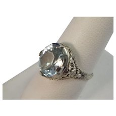 Art Deco Vintage 1930's Estate Aquamarine Engagement Birthstone Wedding Ring 14K