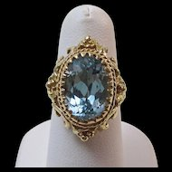 Vintage 1940's Estate Natural Blue Topaz Engagement Birthstone Ring 14K