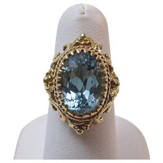 Vintage 1940's Estate Natural Blue Topaz Engagement Birthstone Ring 14K