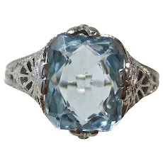 Vintage Estate 1920's Art Deco Birthstone Engagement Anniversary Natural Aquamarine Ring 14K