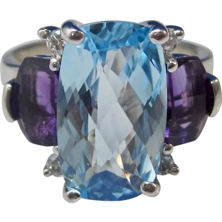 Large Vintage Estate Swiss Blue Topaz Amethyst Diamond Engagement Ring
