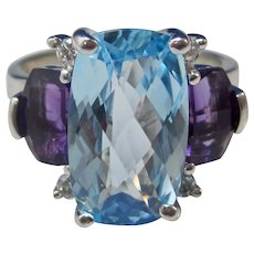 Vintage Estate Swiss Blue Topaz Amethyst Diamond Engagement Ring