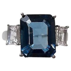 Vintage Estate Natural London Blue & White Topaz Birthstone Anniversary Ring