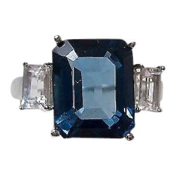 Vintage Estate Natural London Blue & White Topaz Ring
