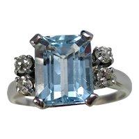 Vintage Estate Sky Blue Topaz & Diamond Ring 14K White Gold