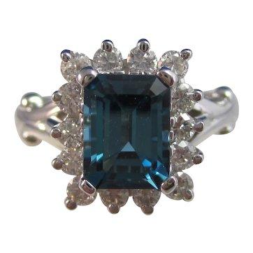 Vintage Estate Natural London Blue Topaz Ring 14K