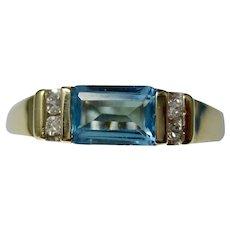 Vintage Estate Swiss Blue Topaz Diamond Ring