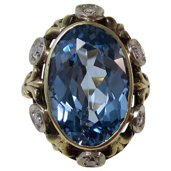 Art Deco Blue Topaz Diamond Estate Engagement Birthstone Anniversary Ring 14K