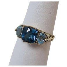 Vintage Estate 3.61 Carat Blue Topaz Birthstone Ring