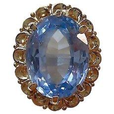 Vintage 1950's Blue Topaz Birthstone Anniversary Ring 14K
