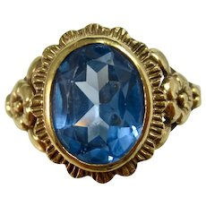 Vintage Estate Natural Swiss Blue Topaz Engagement, Birthstone, Anniversary Ring 14K