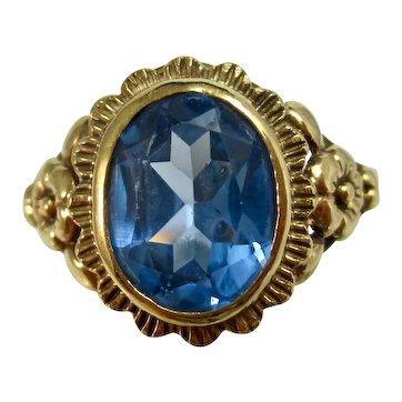 Vintage Estate Natural Swiss Blue Topaz Ring 14K Yellow Gold