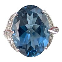 Vintage Estate Huge London Blue Topaz & Diamond Dinner Ring