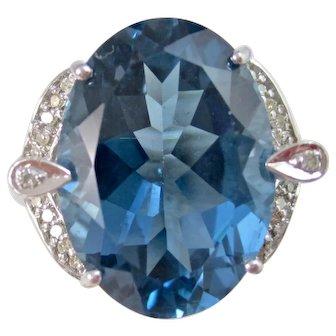Vintage Estate Huge London Blue Topaz & Diamond Dinner Ring