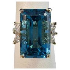 Estate 1960's London Blue Topaz Diamond Dinner Ring 14K