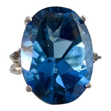 Vintage Estate 1960's London Blue Topaz Diamond Ring