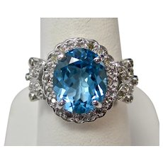 Vintage Estate Blue Topaz & Diamond Ring 14K
