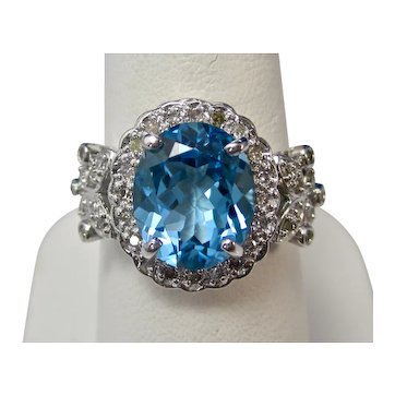 Vintage Estate Blue Topaz & Diamond Ring 14K