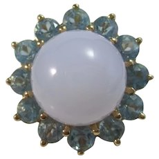 Vintage Estate Chalcedony & Blue Topaz 10.32 TCW Ring 14K