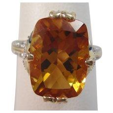 Vintage Estate Citrine Sapphire Ring 14K