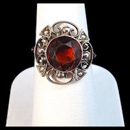 Antique Victorian Estate Citrine Birthstone Ring 9K Rose Gold